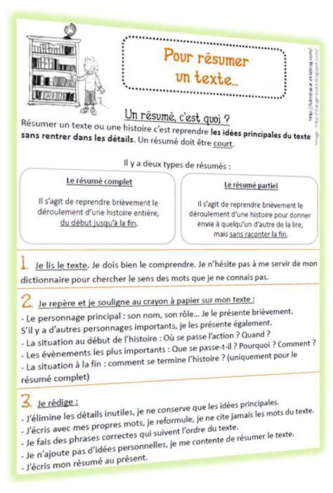 Resume D Un Texte by Faire Un R 233 Sum 233 De Texte M 233 Thodologie Et Grille D