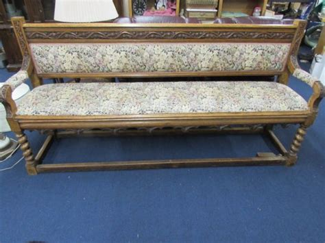 antique deacons bench lot detail antique upholstered carved oak deacons bench