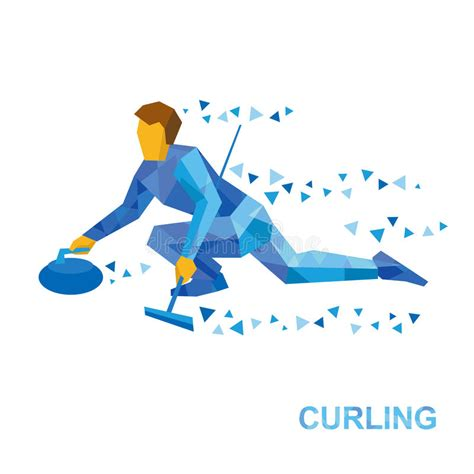 curling game sport royalty free cartoon cartoondealer winter sports curling cartoon player slide stone stock