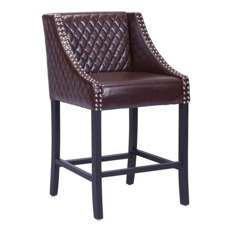 35 Inch Bar Stools by Zuo Santa Faux Leather 35 Quot Bar Stool In Brown 98606