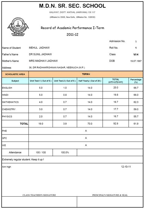 Result Card Template pgh 11 12