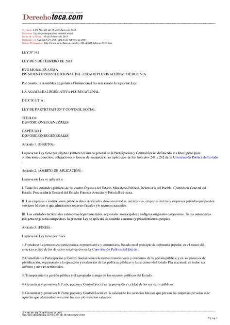 Ley De Participacin Y Control Social Ley N 341 Ley Del   ley n 341 ley de participacin y control social ley n 341