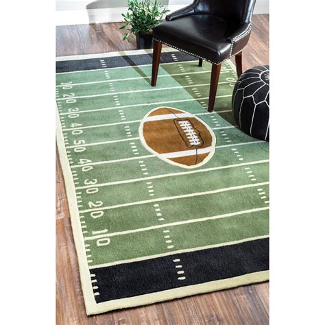 football rugs nuloom handmade football field green rug from overstock