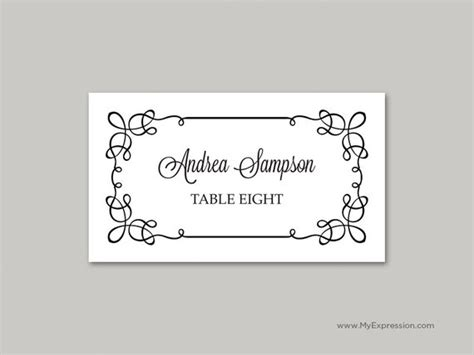 folded place card templates for word wedding place cards folded template calligraphy flourish