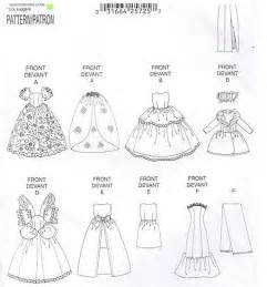Dress gown fashion doll clothes pattern vintage sewing patterns