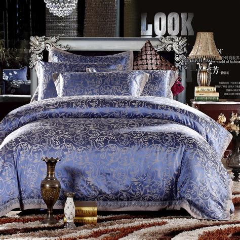 Silver And Gold Bedding Sets Gold Pink Blue Jacquard Bedding Set Luxury 4pcs Satin Duvet Comforter Cover King