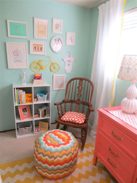 nursery colors this color combo aqua and coral nursery the