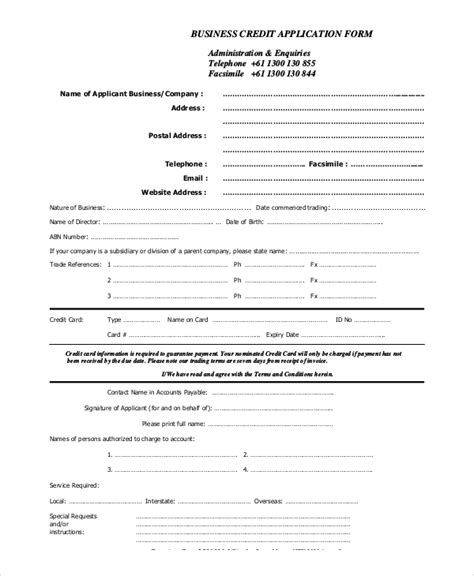 business credit application form template free credit application sle