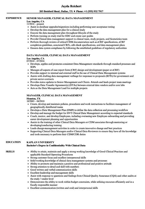 Clinical Data Manager Sle Resume by Clinical Data Management Resume Sle Resume Ideas
