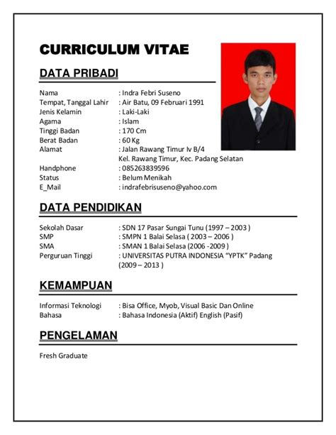 format cv indonesia word contoh curriculum vitae evo pinterest curriculum