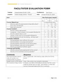 facilitator evaluation form template evaluation questions exles forms and templates