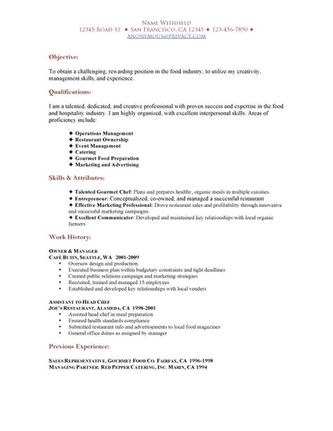 Resume Exles For Restaurant by Sample Restaurant Resumes Restaurant Functional Resume Sle Sample Restaurant Resumes