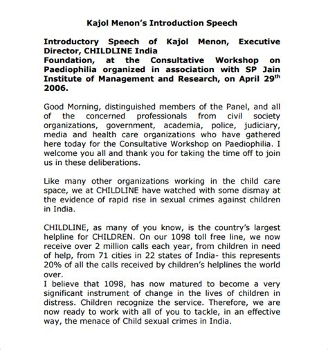 10 Introductory Speech Exles Sle Templates Exles Of Self Introduction Speech