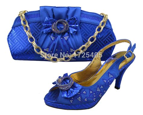 Promo High Quality Pouch Bag Set Blue Tmc 2015 high class shoes and matching bags set with royal blue shoe and bag for size