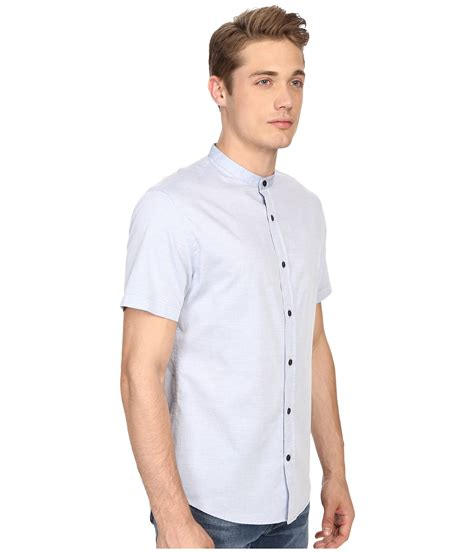 Run186or Gw Sleeve Normal Cutting vince melange banded collar sleeve shirt in white for lyst