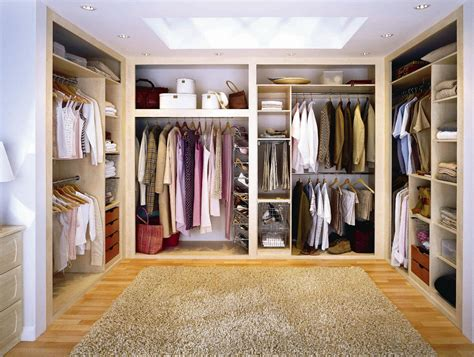u shape large brown wooden closet combined with shelves