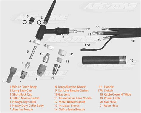 tig torch parts diagram weldcraft 174 wp 12 replacement parts