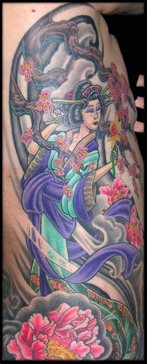 geisha tattoo with cherry blossoms geisha wind peonies cherry blossoms and a daffodil by