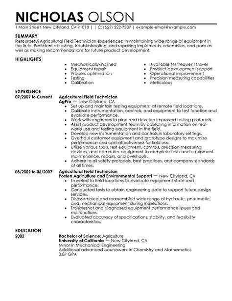 Technician Resume Format by Field Technician Resume Exle Agriculture Environment Sle Resumes Livecareer
