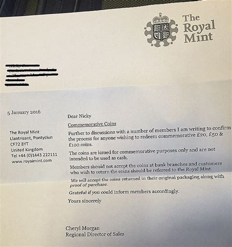 Report Lost Letter Royal Mail Boyce Victory As Royal Mint Accepts Commemorative Coins Back From Concerned Buyers This
