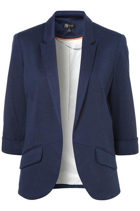 Jaket Parka Waterproof Macbeth topshop ponte rolled sleeve blazer in blue lyst