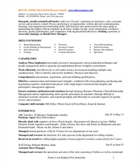 Store Manager Resume by Store Manager Resume 9 Free Pdf Word Documents