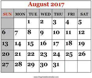 August Calendar Printable August 2017 Printable Calendars