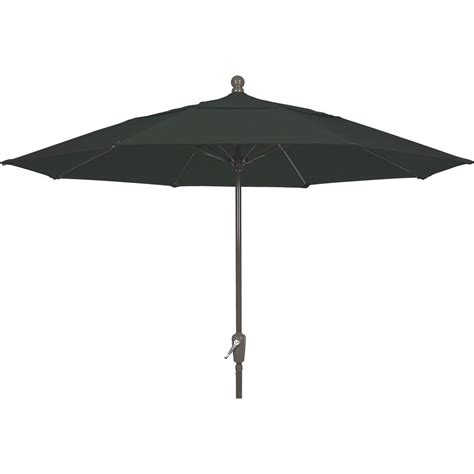 Black Patio Umbrellas Fiberbuilt Umbrellas 11 Ft Aluminum Patio Umbrella In Black Acrylic 11lppa 4608 The Home Depot