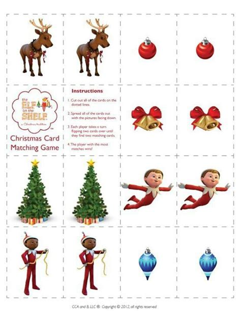 printable elf on the shelf games 7 best images of elf on the shelf printable memory game