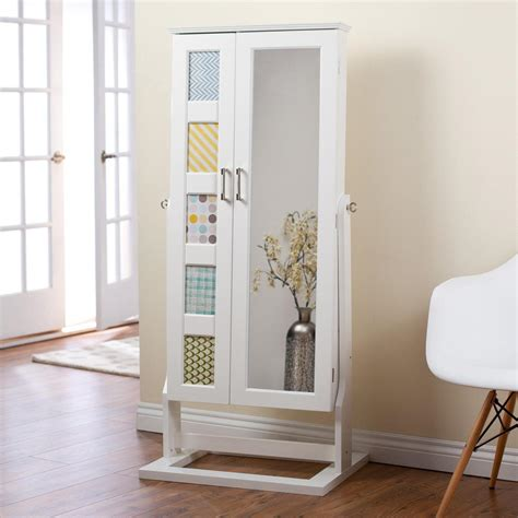 white mirrored jewelry armoire white standing mirror jewelry armoire doherty house