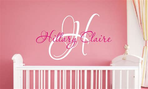 Nursery Name Wall Decals Baby Nursery Wall Decal Monogram Name By Justthefrosting