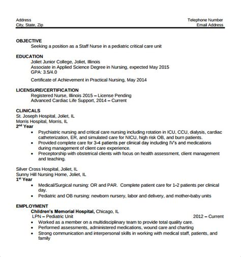 Sample Nurse Resume   10  Download Free Documents in Word, PDF