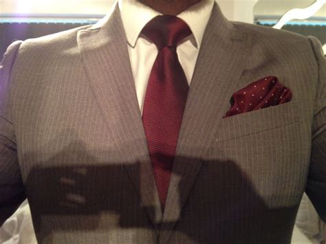 Blouse Brukat Mng Suit Maroon light grey pinstripe suit white shirt burgundy tie and