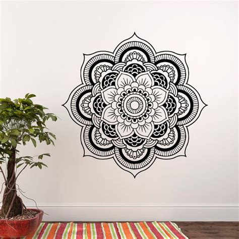 Lotus Flower Print Wall Sticker wall decal mandala lotus flower decals vinyl stickers