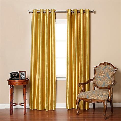 Gold Grommet Curtains Buy Decorinnovation Solid Faux Silk 84 Inch Blackout Grommet Top Window Curtain Panel Pair In