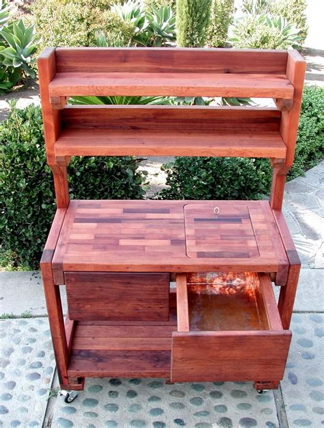 redwood bench redwood potting bench custom outdoor wood bench