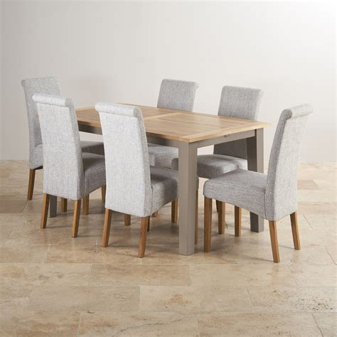 Dining Table With Fabric Chairs St Ives Light Grey Painted Extending Dining Table 6 Fabric Chairs