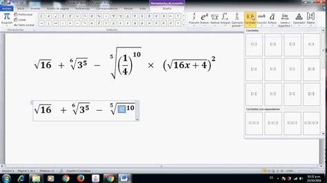 simbolo raiz cuadrada en word c 243 mo poner ra 237 ces o radicales en word parte 1