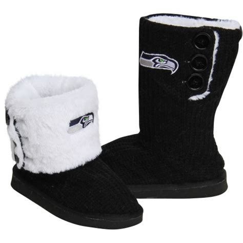 seattle seahawks knit high end button boot slippers