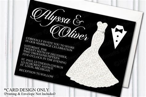 wedding scroll dress and tux card template glamorous dress tuxedo wedding invitation glam themed