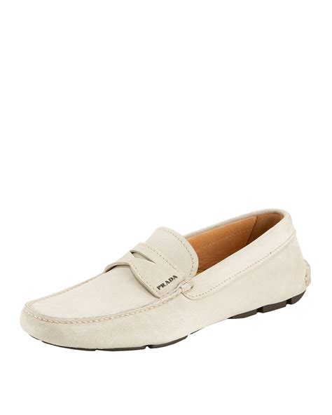 prada driving shoes prada suede driving shoe ivory in white ivory lyst