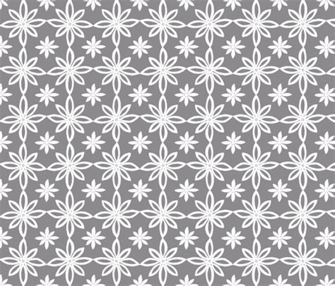 pattern white and gray pattern with 2 flowers in grey and white fabric