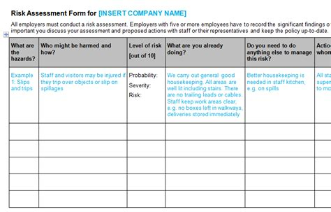 formal risk assessment template health safety bizorb