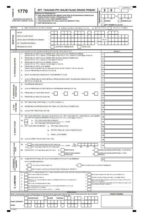 petunjuk pengisian spt tahunan pph orang pribadi 2016 bagi petunjuk pengisian spt 1770 s direktorat jenderal pajak