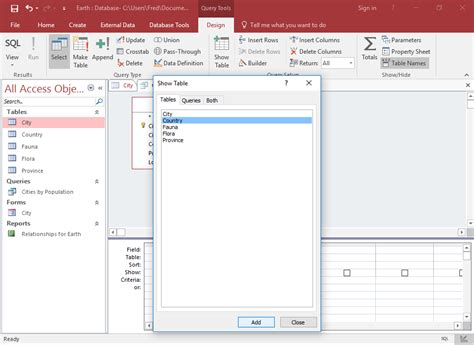 layout view access 2016 how to create a simple select query in design view in