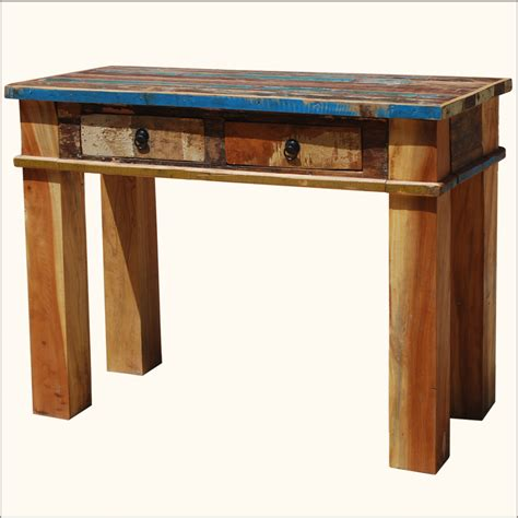 Distressed Entryway Table Rustic Distressed Reclaimed Wood Console Sofa Entryway Foyer Table Desk New Ebay