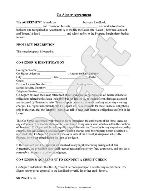 Signed Credit Agreement Letter Sle Co Signer Agreement Form Template Rental Forms Templates
