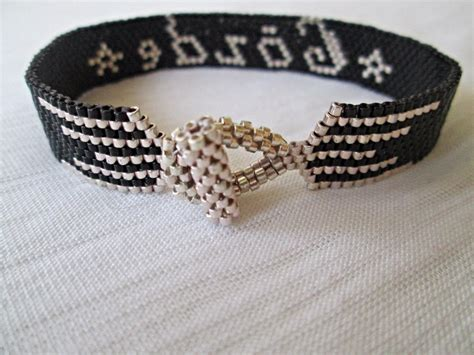 Handmade Bracelets With Names - peyote name bracelet handmade personalized cuff
