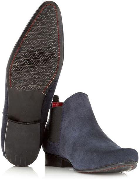 mens boots topman topman juan suede low chelsea boots in blue for lyst