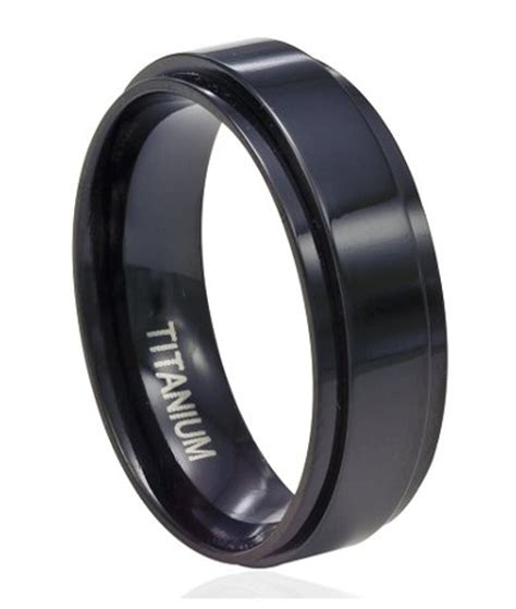 8mm s black titanium spinner ring with flat profile